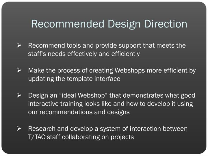 Recommended Design Direction