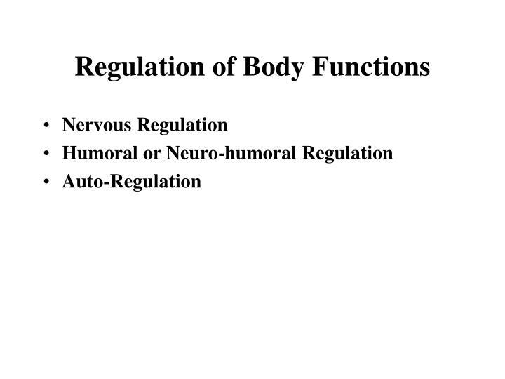 Regulation of Body Functions