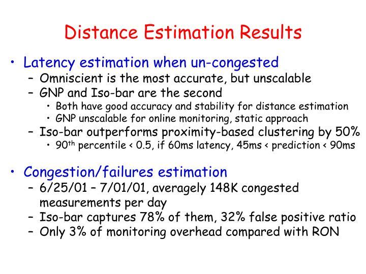 Distance Estimation Results