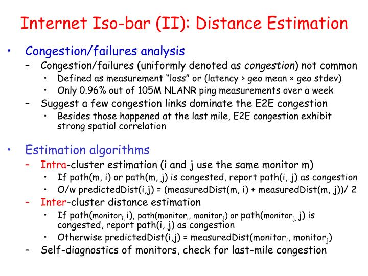 Internet Iso-bar (II): Distance Estimation