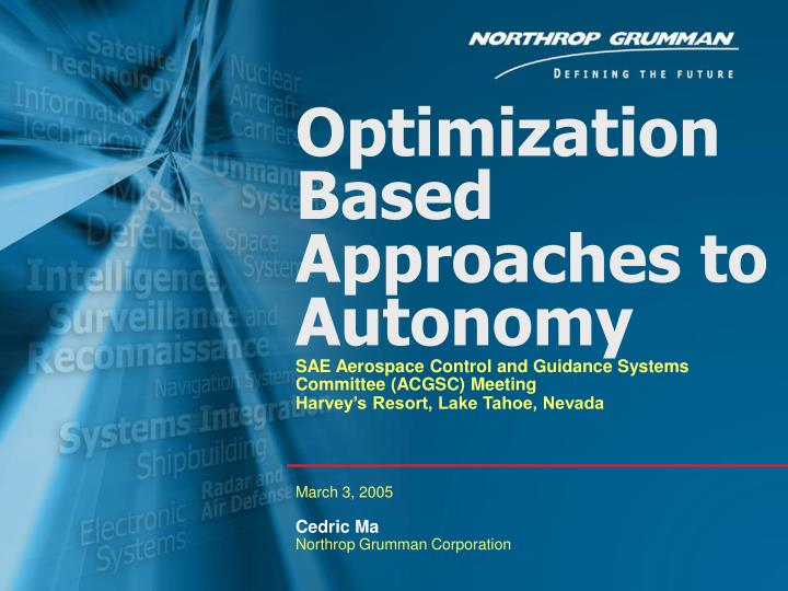 optimization based approaches to autonomy n.