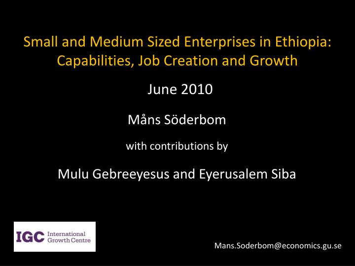 small and medium sized enterprises in ethiopia capabilities job creation and growth n.