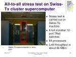 all to all stress test on swiss tx cluster supercomputer