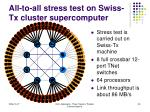 all to all stress test on swiss tx cluster supercomputer1