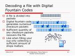 decoding a file with digital fountain codes