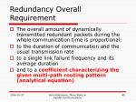 redundancy overall requirement