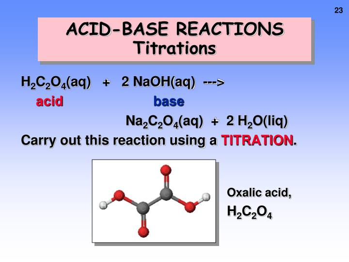 acids and bases titrations reactions and