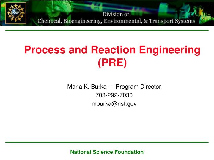 process and reaction engineering pre n.