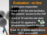 evaluation on line
