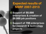 expected results of nsrf 2007 2013