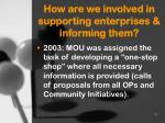 how are we involved in supporting enterprises informing them