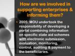 how are we involved in supporting enterprises informing them1