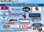 over 200 clients benefited from npq