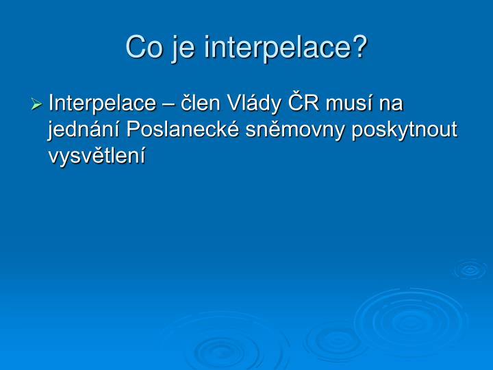 Co je interpelace?