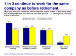 1 in 3 continue to work for the same company as before retirement