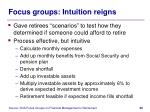 focus groups intuition reigns