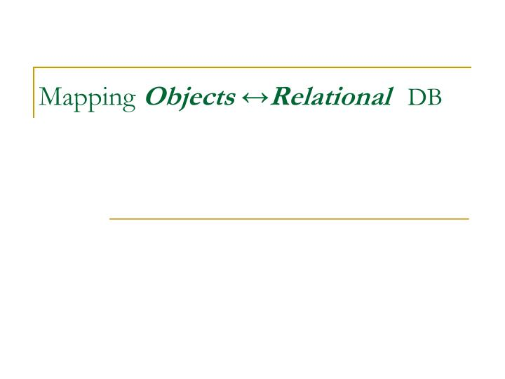 mapping objects relational db n.