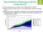 the contribution of bioenergy to uk final energy demand