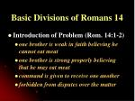 basic divisions of romans 14