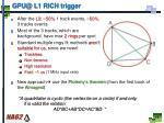 gpu@ l1 rich trigger