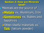 section 3 how are minerals used