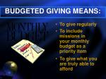budgeted giving means
