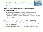 ga for multi objective optimization problems1
