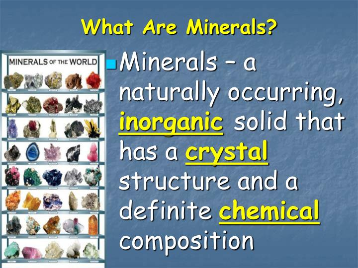 what are minerals n.