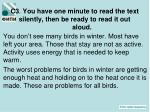 c3 you have one minute to read the text silently then be ready to read it out aloud