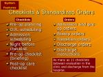 checklists standardized orders