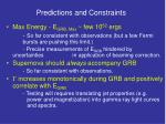 predictions and constraints