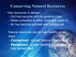 conserving natural resources