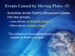 events caused by moving plates 5