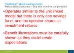 traditional takaful savings model wakala with mudharaba drip with incentive compensation