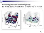 removing the evaluated background hit distribution surface before and after the correction