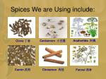 spices we are using include