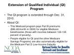 extension of qualified individual qi program