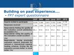 building on past experience fp7 expert questionnaire