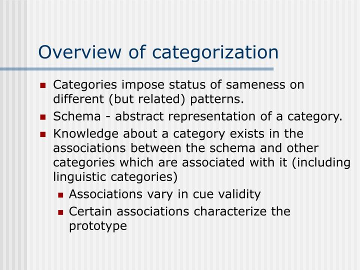 overview of categorization n.