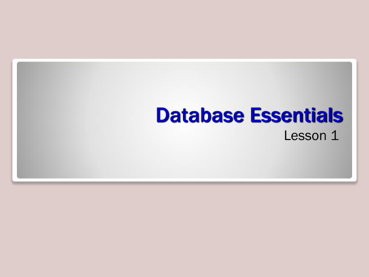 database essentials n.