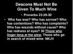 deacons must not be given to much wine