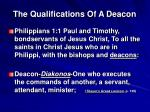 the qualifications of a deacon1