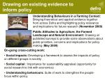 drawing on existing evidence to inform policy