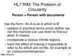 hl7 rim the problem of circularity
