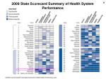 2009 state scorecard summary of health system performance