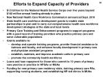efforts to expand capacity of providers