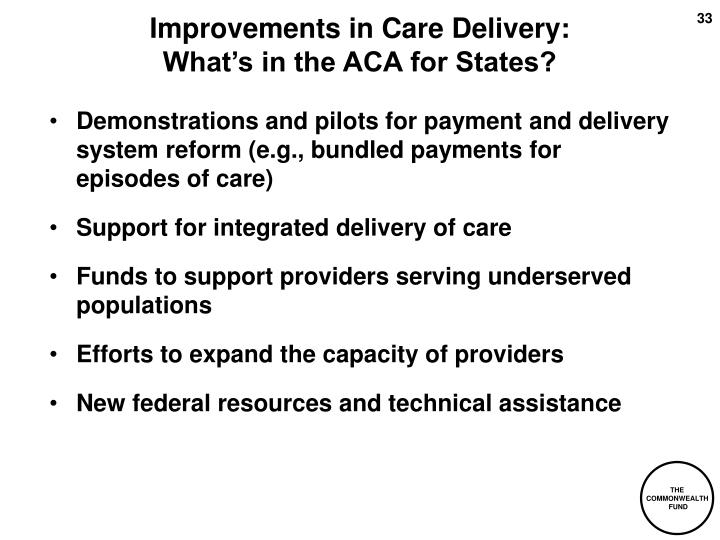 Improvements in Care Delivery: