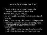 example status redirect