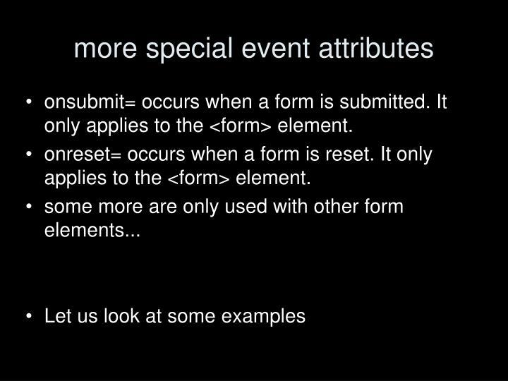 more special event attributes