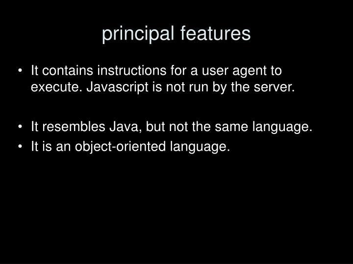 principal features